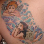 3 child angels by Guido Baldini Lost Cowboy Tattoos USA 150x150 The skin of an angel