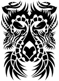 Tatuaggio Tribale con lunghi Draghi Cinesi