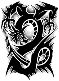 Tatuaggio Tribale di un Drago con Artigli
