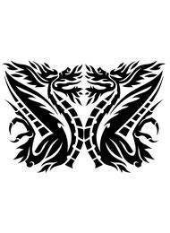 Tatuaggio Tribale con due Draghi Alati Simmetrici
