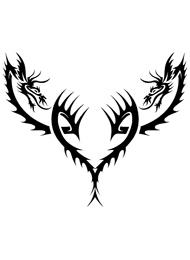 Tatuaggio Tribale con Draghi a Forma di Cuore