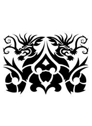 Tatuaggio Tribale con due Draghi Simmetrici