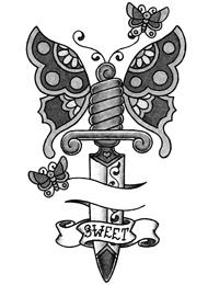 Tatuaggio di Farfalle su un Coltello