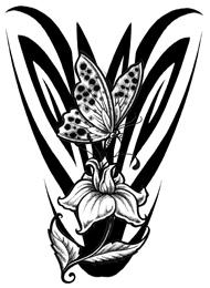Tatuaggio Maori di Farfalla su un Fiore