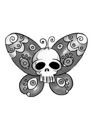 Tatuaggio di una Farfalla con un Teschio