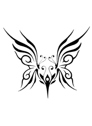 Tatuaggio di Farfalla Tribale Stilizzata