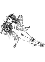 Disegno di un Tatuaggio di una Fata e Fiori
