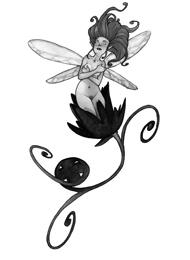 Disegno di un Tatuaggio di una Fatina su un Fiore