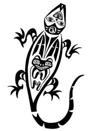 Tatuaggio di un Geco con Maschere Tribali