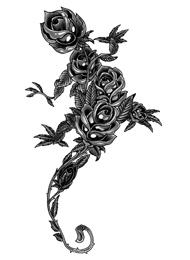 Tatuaggio di un Geco con le Rose