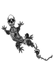 Tatuaggi di Gechi con Teschio e Fiori