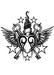 Tatuaggio di una Chiave Alata con Stelle