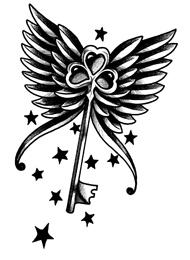 Tatuaggio di una Chiave con le Ali e Stelline
