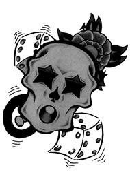 Tatuaggio di un teschio con Stelle e Dadi