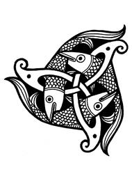 Disegno di un Tatuaggio Triskell con dei Pesci