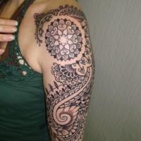 Calypso dotwork shoulder 02 200x200 Tattoo Artist gallery: Calypso