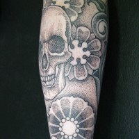 Calypso dotwork skull arm 01 200x200 Tattoo Artist gallery: Calypso