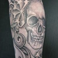 Calypso dotwork skull arm 03 200x200 Tattoo Artist gallery: Calypso