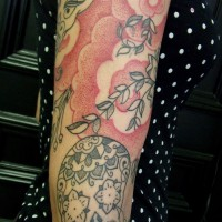Calypso red dotwork arm