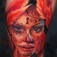 mexican woman's skull tattoo