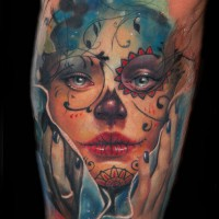 Donna trucco teschio mexica 200x200 Tattoo Artist gallery: Alex De Pase