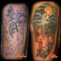Indian Girl tattoo 200x200 Tattoo Artist gallery: Ettore Bechis