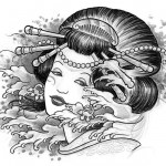 Geisha by Delia Vico 150x150 Disegni Tattoo   Geisha