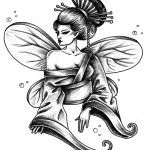 Geisha with wings tattoo
