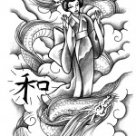 Geisha and Dragon tattoo