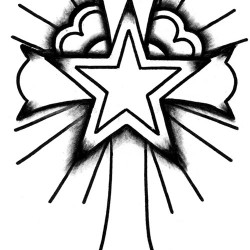 cross with star tattoo 250x250 Disegni tattoo   Religiosi