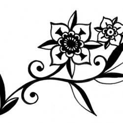modern floral tattoo