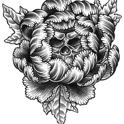peony flower tattoo with skull