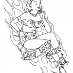 pin-up tattoo with flames