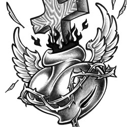 sacred heart tattoo with wing 250x250 Disegni tattoo   Religiosi