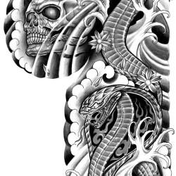 Cobra snake tattoo with skull 250x250 Disegni Tattoo   Serpenti