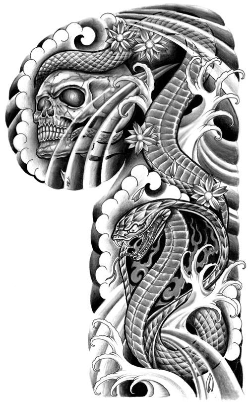 Snake Skull Tattoo: Tattoo Flash