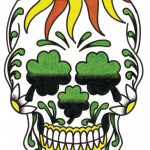 Shamrock skull coloured tattoo