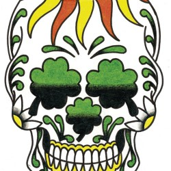 Shamrock skull coloured tattoo 250x250 Disegni Tattoo   Teschi