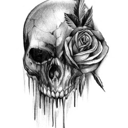bloody skull tattoo with rose