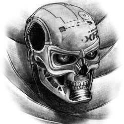 cyborg skull tattoo