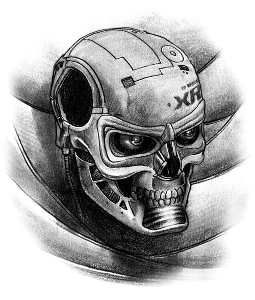 cyborg skull tattoo old bones skull tattoo realistic skull tattoo with