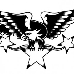 eagle with stars old school tattoo