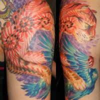cat and bird tattoo