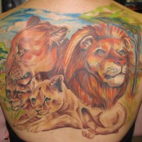 lion family back tattoo