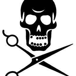 skull tattoo with scissors