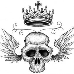 winged skull tattoo with crown