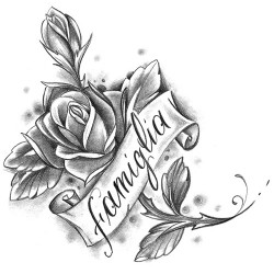 rose with script tattoo 250x250 Disegni Tattoo   Rose