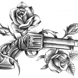 roses and gun tattoo