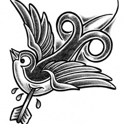 New school Swallow and arrow 250x250 Disegni tattoo   Rondini