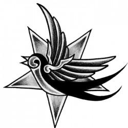 New school tattoo Swallow and star 250x250 Disegni tattoo   Rondini